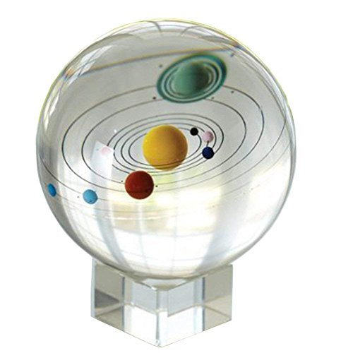 Amlong Crystal 3.1 inch (80mm) Solar System Crystal Ball with Crystal Stand and Gift Box