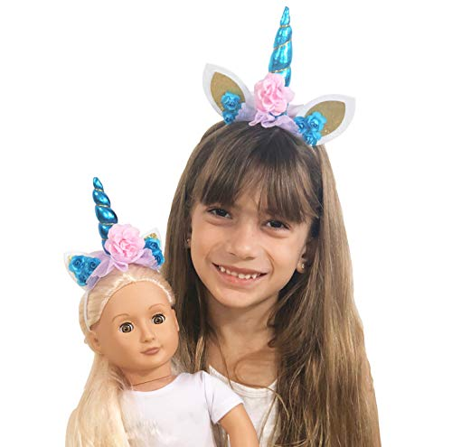 MY GENIUS DOLLS Unicorn Horn Headband - Accessories fits All 18 inch Dolls Such as American Girl Our Generation My Life Adora Gotz | Matching Clothes Outfit for Girls and Doll - 2 Piece Set