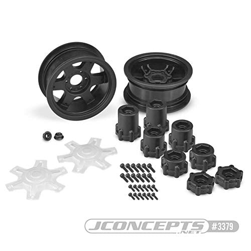 J Concepts Inc. Dragon 2.6 Mega Truck Wheel with Adapter, Black (2), JCO3379B
