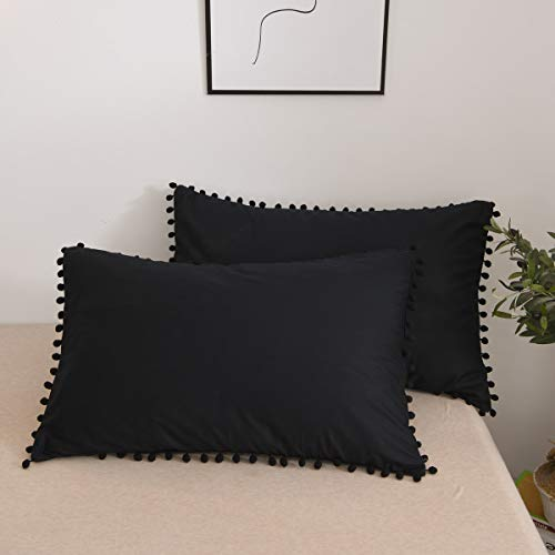 Softta 20x30 Pompom Pillow Shams Pillow Covers 2 pcs Ball Tassel Trimmed Cute Pretty Girls Pillowcases 100% Cotton Black Cover Twin/Full/Queen (NO Comforter NO Filling)