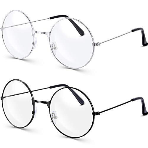 Bememo 2 Pairs of Wizard Glasses Round Wire Costume Glasses Accessories for Dressing Up (Black and Silver)