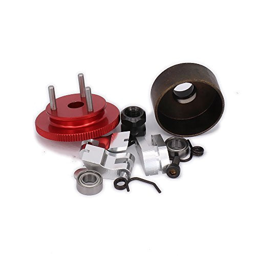 HobbyCrawler Clutch Bell Bearings 1/8 Scale Flywheel Assembly Kit Springs 14T Gear Nitro 21-28 Engine Parts for Redcat Racing HPI Avalanche XTR Hurricane XTR HSP RC Car (Red)