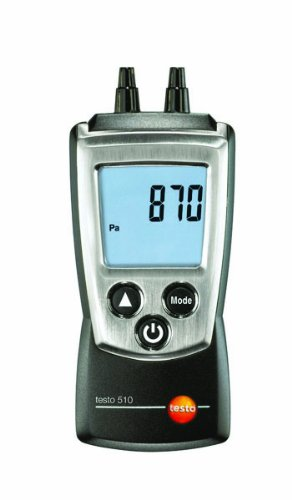 Testo 0560 0510 Pocket Pro Pressure Meter with Air Velocity, 0 to 100 hPa Range, +/- 0.01 hPa Resolution, 2 Type AAA Battery