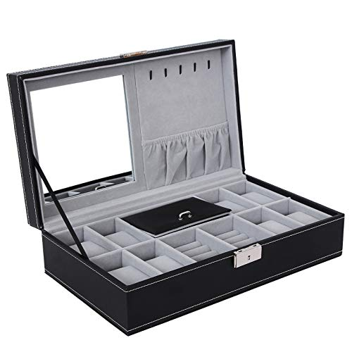 SONGMICS Black Jewelry Box, 8-Slot Watch Organizer, Storage Case with Lock and Mirror UJWB41B