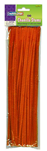 Creativity Street Chenille Stems/Pipe Cleaners 12 Inch x 4mm 100-Piece, Orange