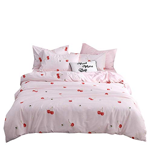 MKXI Cartoon Cherry Print Girls Twin Bedding Duvet Cover Sets Cotton 100 Percent for Kids Toddler Teen Women Bed Pink Reversible Teen Bedding Sets Twin Size