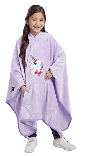 Jay Franco Nickelodeon JoJo Siwa Unicorn Throwbee – 2-in-1 Wearable Kids Plush Throw Blanket Poncho - Fade Resistant Polyester, 50