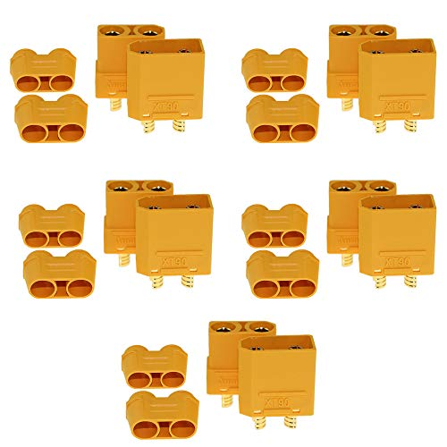KeepFlying Amass 5 Pairs XT90 XT-90 Male Female Bullet Connectors Power Plugs with Sheath Housing for XT90 RC Lipo Battery Motor