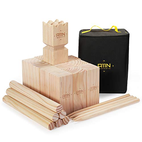 A11N SPORTS Kubb Viking Chess Lawn Game - Premium Yard Game Set with Tote Bag
