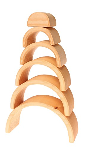 Grimm's Large 6-Piece Wooden Stacking & Nesting Rainbow Tunnel/Arches Block Stacker in Natural