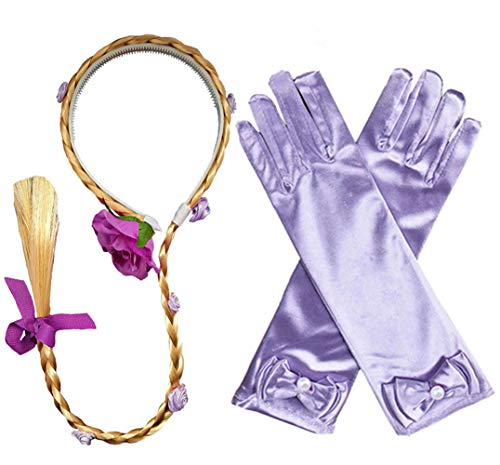 Princess Rapunzel Wig Rapunzel Braid Long Hair Wig with Braid Gloves Dress up Accessories for Girls Purple