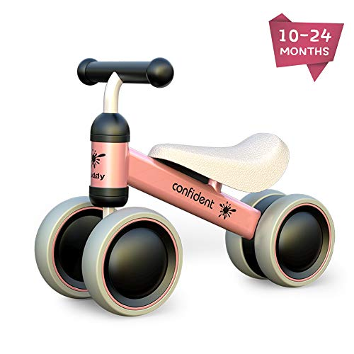Baby Balance Bike Toddler Tricycle Bike No Pedals 10-24 Months Ride-on Toys Gifts Indoor Outdoor for One Year Old Boys Girls First Birthday Thanksgiving Christmas (Pink)