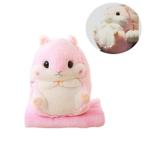 Aqueous Cute Hamster Plushed Pillow Plush Hamster Car Pillow with Blanket