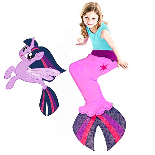 Blankie Tails | My Little Pony Mermaid Blanket Wearable Blanket - Double Sided My Little Pony Minky Fleece Blanket - Mermaid Tail Blanket (56'' H x 27'' (Kids Ages 5-12), Twilight Sparkle Seapony)