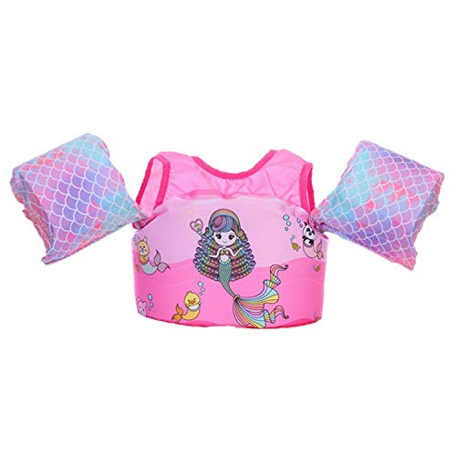 Jellydog Toy Swim Vests, Mermaid Baby Floats for Pool,Learn-to-Swim Vest with Arm Wings and Collar, Kids Life Jacket for Girls from 30 to 50lbs