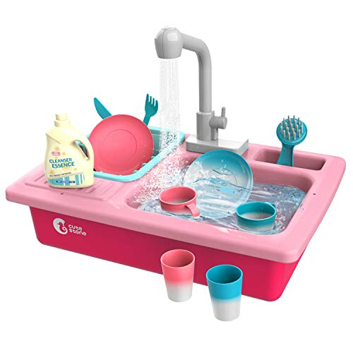 CUTE STONE Color Changing Play Kitchen Sink Toys, Children Electric Dishwasher Playing Toy with Running Water,Upgraded Real Faucet and Play Dishes,Pretend Play Kitchen Toys for Boys Girls Toddlers Kid