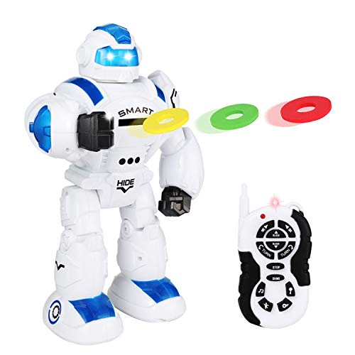 JOYIN Remote Control Intelligent Robot Toy with Infrared Controller, Gesture Sensing, Shooting Discs for Kids