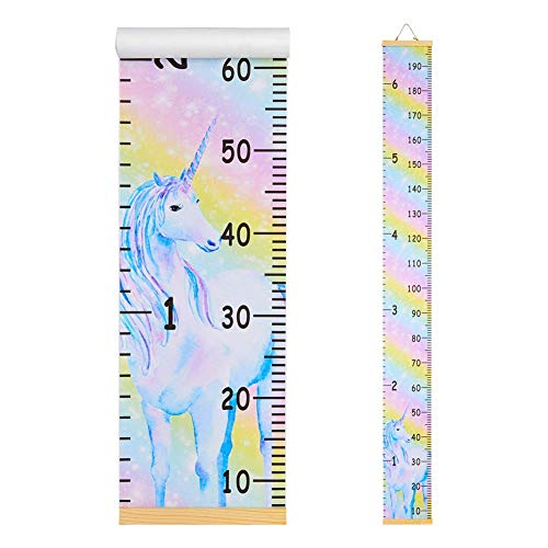 Beinou Baby Growth Chart Ruler for Kids Wood Frame Height Measure Chart 7.9'' x 79'' Canvas Hanging Height Growth Chart for Baby Nursery Decoration Baby Shower Gift (Rainbow Unicorn)