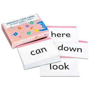 Attractivia Dolch Sight Words Magnetic Flash Cards Pre-Primer/Pre-K - 40 Large Cards for Literacy of Beginning Readers, Homeschool, Teachers and ESL