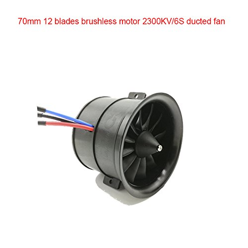 Powerfun EDF 70mm 12 Blades Ducted Fan with RC Brushless Motor 2300KV Balance Tested for EDF 6S RC Jet Airplane