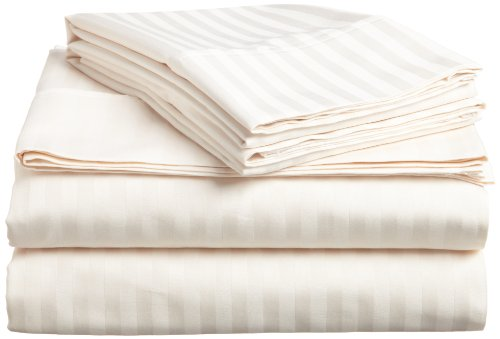 Superior 400 Thread Count 100% Premium Combed Cotton, 3-Piece Bed Sheet and Pillowcase Cover Set, Stripe, Twin - Ivory