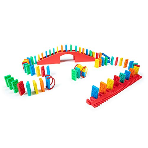 Bulk Dominoes 68 pcs Kinetic Dominoes Large PRO-Scale Stacking Building Toppling Chain Reaction Dominoes Set for Kids and Creators