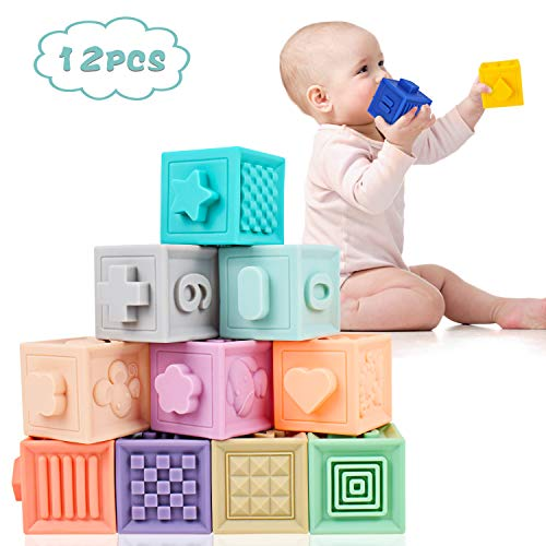 Supkiir Baby Soft Blocks, Safe Educational Building Blocks for Toddlers, Teething Chewing Squeeze Stackable Bath Toy for Kids with Numbers, Animals and Shapes for Matching Games