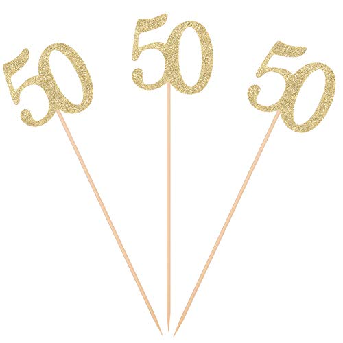 Pack of 10 Gold Glitter 50th Birthday Centerpiece Sticks Number 50 Table Topper Age Letter Decorations