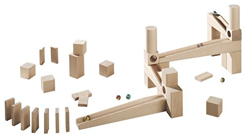 HABA Ball Track Starter Set - 44 Piece Wooden Marble Run for Beginner to Expert Architects Ages 3 to 10 (Made in Germany)
