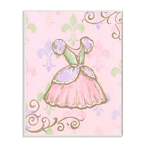 The Kids Room by Stupell Princess Dress with Fleur de Lis on Pink Background Rectangle Wall Plaque