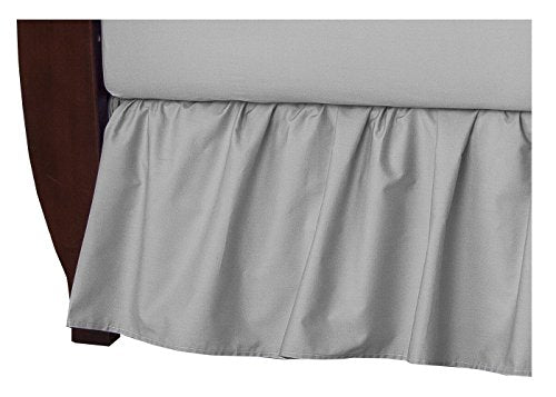 TL Care 100% Natural Cotton Percale Crib Bed Skirt, Gray, Soft Breathable, for Boys and Girls