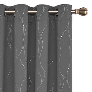 Deconovo Blackout Grommet Curtains Pair with Dots Pattern Energy Saving Room Darkening Curtains for Living Room and Sliding Glass Door 52W x 63L Inch Grey 2 Panels