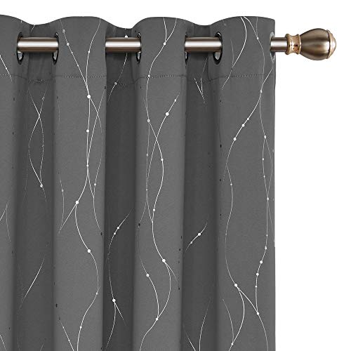 Deconovo Blackout Curtains Grommets with Dots Pattern Thermal Insulated Drapes for Bedroom and Sliding Glass Door 52 x 84 Inch Grey 2 Panels