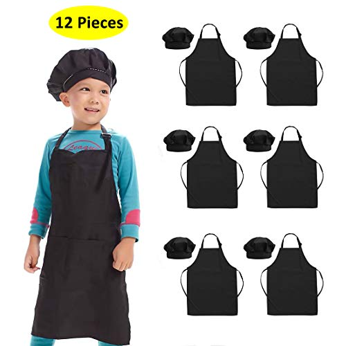 Hi loyaya 12 Pieces Black Kids Apron and Chef Hat, Adjustable Painting Aprons Sets with Pockets for Children Girl Boy Cooking Baking (Black, M)