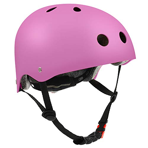 FerDIM Skateboard Helmet, Kids/Adult Bike Helmet with Removable Liner Skiing, Adjustable Straps CPSC Certified for Skateboard, Scooter, Skating, Cycling, Roller Skate,Skiing, Size Small Pink
