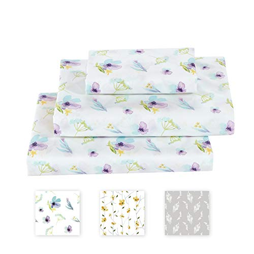 Softan Queen Bed Sheet Set, 4 PC Dandelion Printed Brushed Microfiber Elegant Bedding Set, 1 Flat Sheet,1 Deep Pocket Fitted Sheet, and 2 Pillow Cases, Breathable & Silky Soft Feeling Sheets
