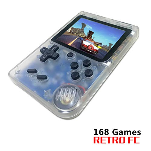 BAORUITENG Handheld Game Console , Retro FC Game Console 3 Inch Screen 168 Classic Games TV Output Game Player , Birthday Present for Children (Transparent White)