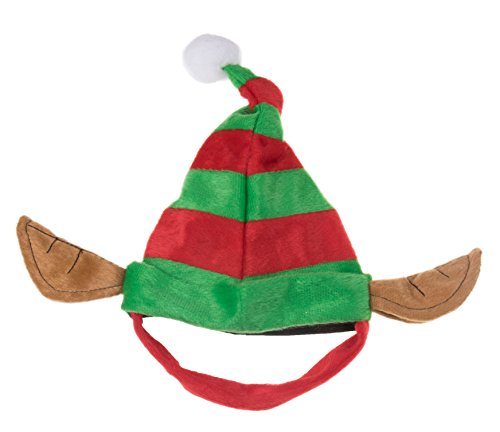 Clever Creations Puppy Dog Christmas Elf Hat | Perfect for Many Breeds and Sizes | Red and Green Striped Santa's Helper Pet Hat with White Pom Pom and Elf Ears | Measures 6