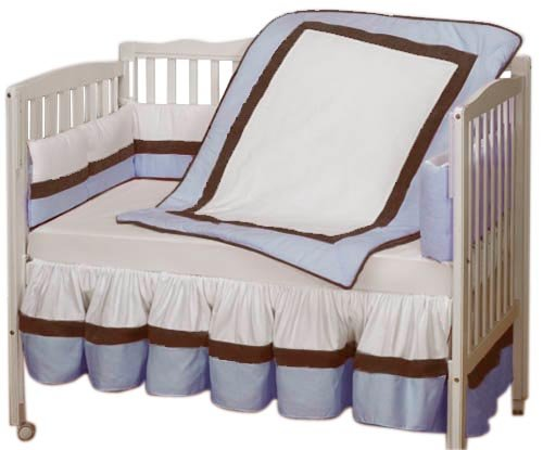 Baby Doll Bedding Classic Mini Crib/Port-a-Crib Bedding Set, Blue