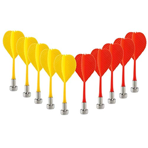 CCLIFE Replacement Magnetic Darts 10pcs Safe Plastic Wing Target Game Toys (Red+Yellow)