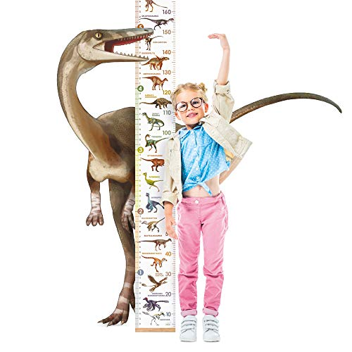 LIFELIKO Personalised Growth Chart for Dinosaur Lovers, Removable Wall Ruler for Boys and Girls, Kid's Room Decoration (White)