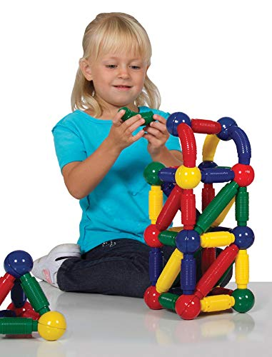 Guidecraft Better Builders 60 - Piece Magnetic Ball and Rod Construction Set, Stem Educational Building Toy