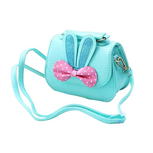 Little Girls Crossbody Purse for Kids - Toddler PU Leather Mini Cute Handbags Shoulder Bag (Rabbit Bowknot Pink&Blue)