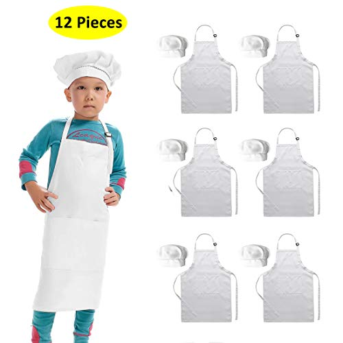 Hi loyaya 6 Pack Adjustable White Kids Apron for Girls Boys, Kids Chef Hat and Apron for Cooking Painting Baking (White, M)