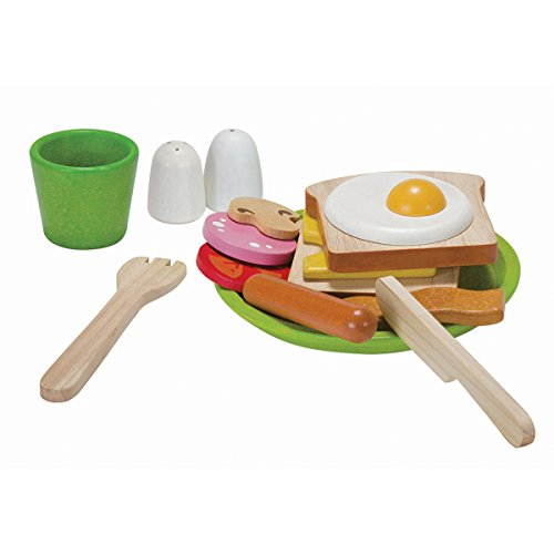 PlanToys Breakfast Menu Pretend Play Food Set (3602) |  Sustainably Made from Rubberwood and Non-Toxic Paints and Dyes | Eco-Friendly PlanWood