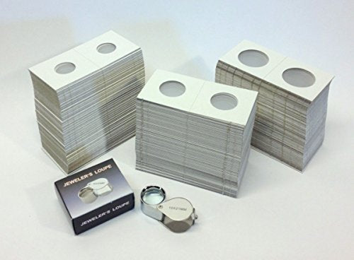 Hobbymaster Cardboard Coin Holders (Coin Flips) - 300 Assorted Sizes Plus 10x21 Loupe Magnifier