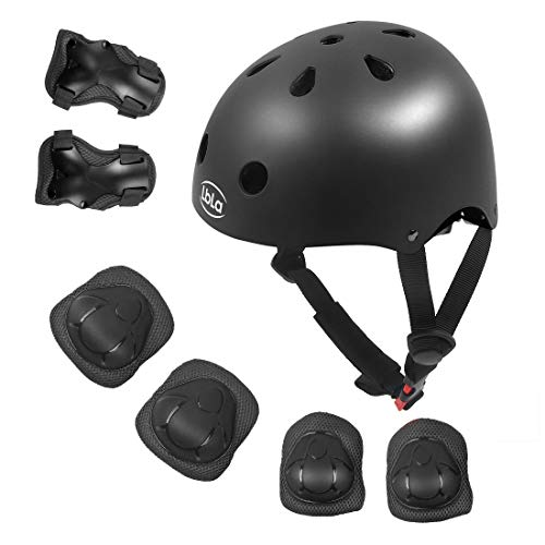 LBLA Helmet and Pads for Kids 3-8 Years Toddler Helmet,Kids Bike Skateboard Helmet,Helmet Knee Elbow Wrist for Scooter,7Pcs Adjustable Protective Gear Set for Kids (Black)