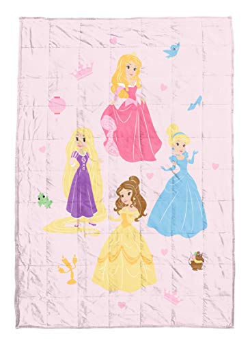 Disney Princess Paper Cut Weighted Blanket 4.5 lbs - Measures 36 x 48 inches, Kids Bedding Features Aurora, Cinderella, Belle, & Rapunzel - Fade Resistant Super Soft Velboa - (Official Disney Product)