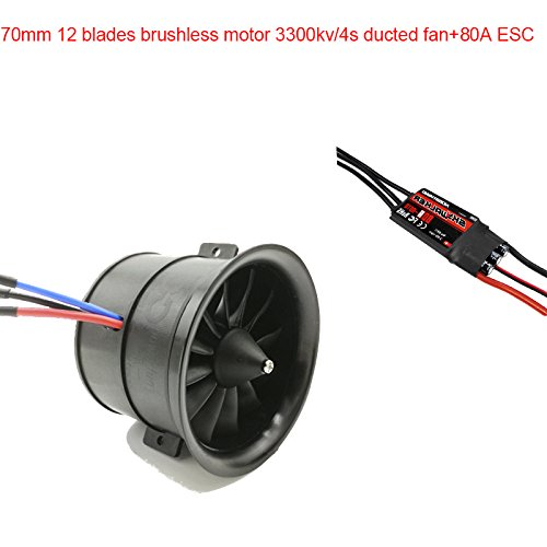 Powerfun EDF 70mm 12 Blades Ducted Fan with RC Brushless Motor 3400KV with ESC 80A(2~6S) Balance Tested for EDF 4S RC Jet Airplane