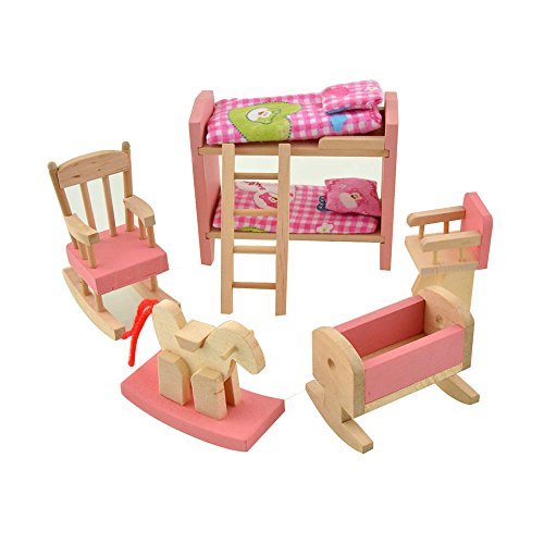 Dreams-Mall Wooden Doll House Furniture Set Toy for Baby Kids Bedroom